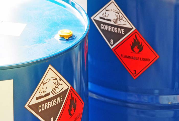 UK containers of hazardous chemicals